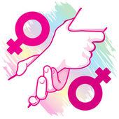 Egy ikon-szimbólum ferde gazdaság női homoszexuális pár kezet. Katalógusok, informatív és intézményi anyag ideális