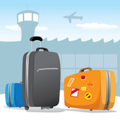 Illustration scenario set of bags and luggage at the airport. Ideal for catalogs, information and travel guides