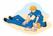 Photo Scene first aid illustration shows a person providing assistance to another person unconscious. Ideal for catalogs, informative and medical guides.