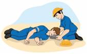Photo Unconscious person support the head. Ideal for catalogs, information and first aid guides