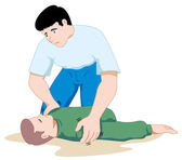 Photo Scene first aid illustration shows a person providing assistance to another person unconscious. Ideal for catalogs, informative and medical guides