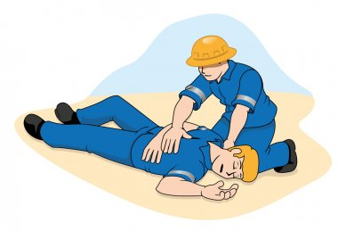 Scene first aid illustration shows a person providing assistance to another person unconscious. Ideal for catalogs, informative and medical guides.