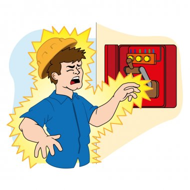 Illustration representing a person being electrocuted in an electrical power box due to an accident at work. Ideal for catalogs, newsletters and first aid guides