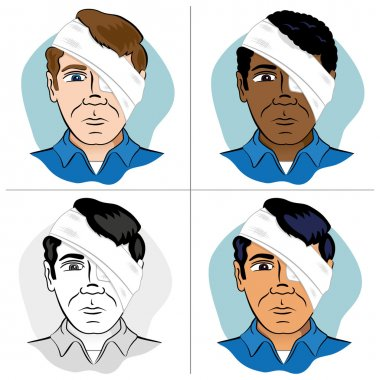 Illustration of a human head bandaged with bandages and bandage the eye. Ideal for catalogs, newsletters and first aid guides.