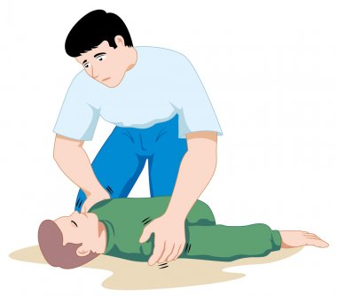 Scene first aid illustration shows a person providing assistance to another person unconscious. Ideal for catalogs, informative and medical guides