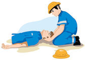 Photo Unconscious person support the head. Ideal for catalogs, informative and safety guidelines at work