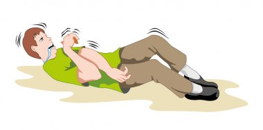 Scene Illustration First Aid, person having seizures and seizure. Ideal for catalogs, informative and medical guides