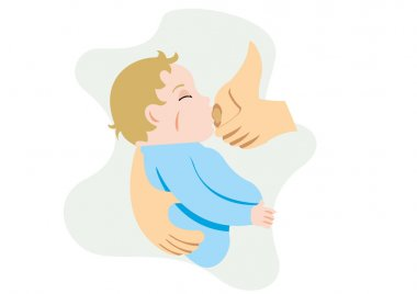 Illustration depicting a mother breastfeeding her baby in her arms. Ideal for catalogs, informative and pregnancy guides