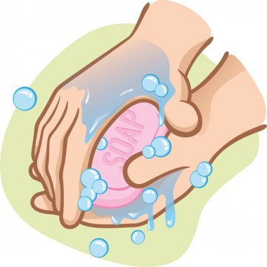 Illustration of a person washing their hands with soap and water