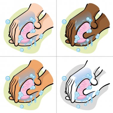 Illustration of a person washing their hands with soap ethnic
