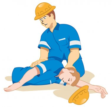 Illustration representing fainting being positioned due to a work accident.
