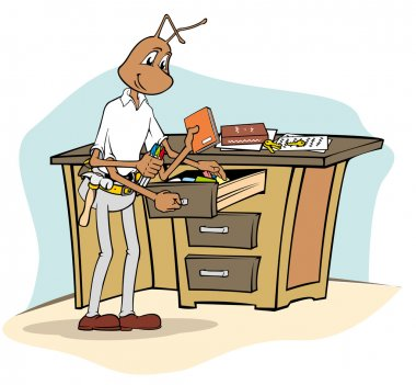 Ant mascot Illustration cleaning equipment office with cloth. Ideal for catalogs, informative and institutional material