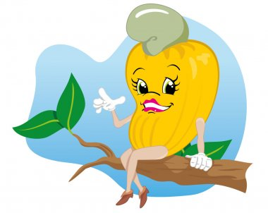 Character mascot cashew fruit. Ideal for educational and institutional materials