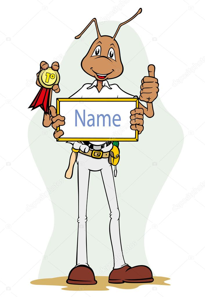 Ant mascot illustration holding frame with name and medal. Ideal for catalogs, informative and institutional material