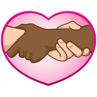 Illustration of hands folded over a heart, interracial. Ideal for catalogs, informative and institutional material
