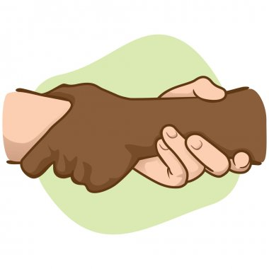 Illustration leaning hands holding a wrist of the other, interracial. Ideal for catalogs, informative and institutional material