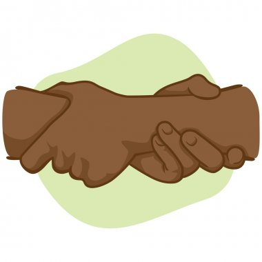 Illustration leaning hands holding a wrist of the other, African descent. Ideal for catalogs, informative and institutional material