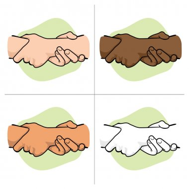Illustration leaning hands holding a wrist of another ethnicity. Ideal for catalogs, informative and institutional material