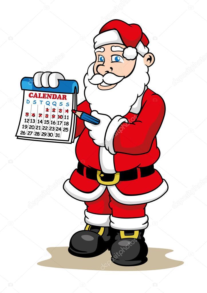 Tage Bis Weihnachten.Illustration Der Eine Hält Einen Kalender Markieren Wie Viele Tage