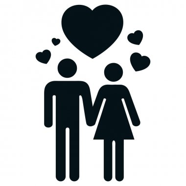Icon pictogram couple in love with heart and love. Ideal for catalogs, informative and institutional material