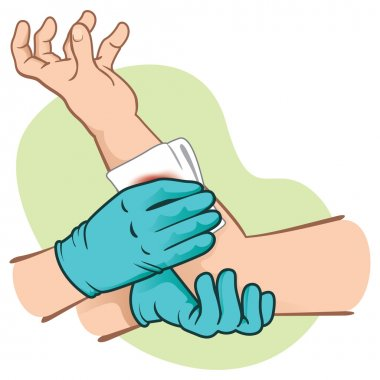 First control bleeding Aid elevating injured limb. Ideal for medical supplies, educational and institutional