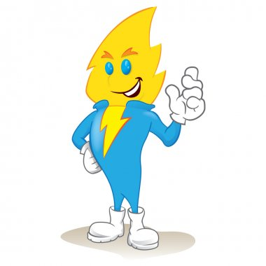 Illustration of an electric power mascot. Ideal for catalogs, informative and institutional material and educational