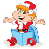 Photo Child dressed as Santa Claus, coming out of a gift box. Indeal for promotional material and institutional natalinos