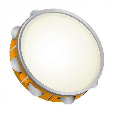 Illustration object musical instrument, tambourine, samba. Ideal for educational material and institutional support