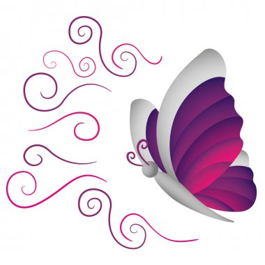 Illustration is an insect butterfly nature, lilac and gray. Ideal for educational and institutional materials
