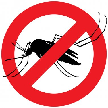 Nature, silhouette mosquitoes stilt with forbidden sign. Ideal for informational and institutional related sanitation and care