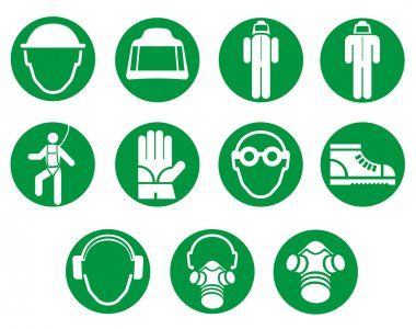 icons and cryptogram of work equipment. Ideal for institutional materials and training