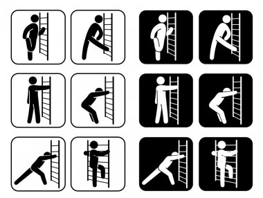 Icons pictogram of stretching exercises. Ideal for institutional and sporting goods