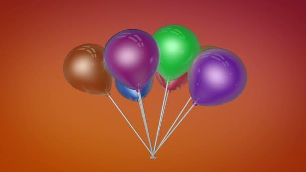 Létající parta barevných balónků