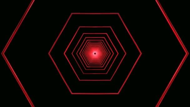 Bewegliche rote Sechsecke-tunnel