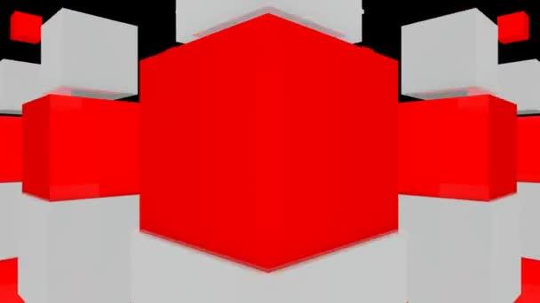 Cubi in movimento su priorità bassa nera