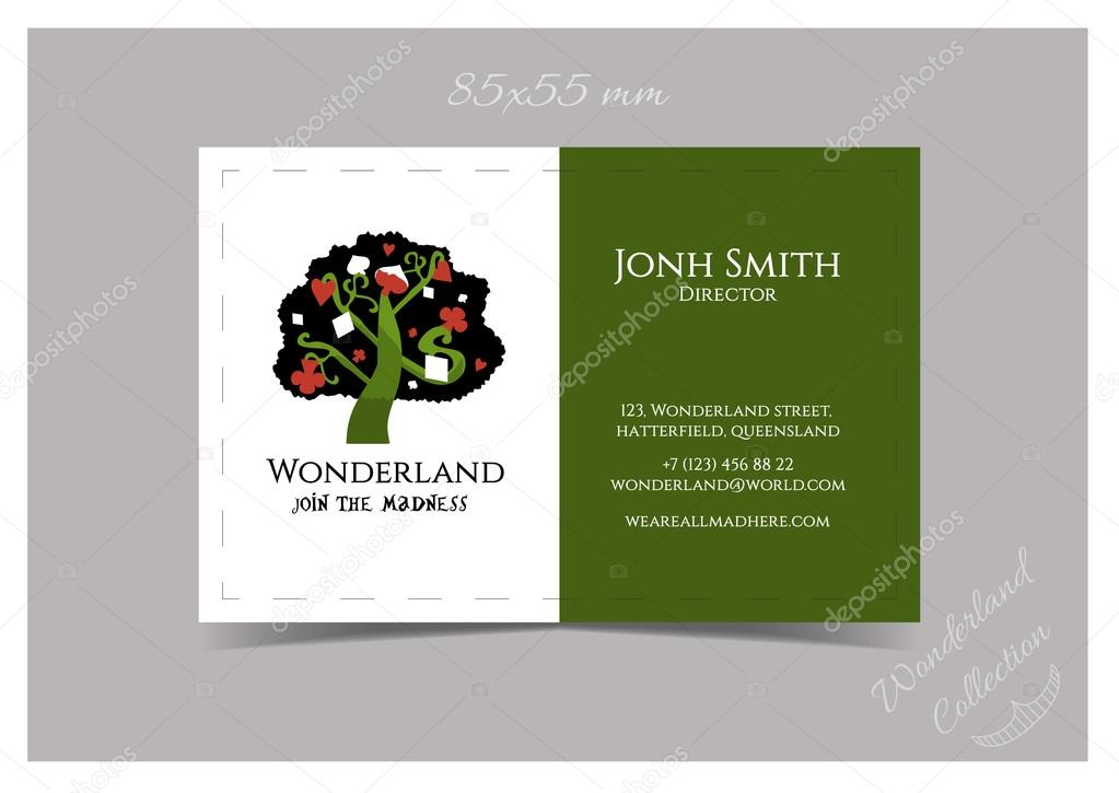 Business Card Template Tree from Wonderland