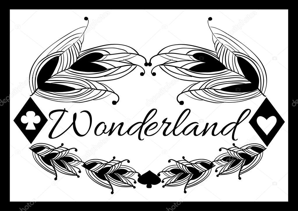 Alices Advetures In Wonderland Black Pattern Suitable For Logo Business Card Banner Or Leaflet Vector Illustration Vektor Von Highflier