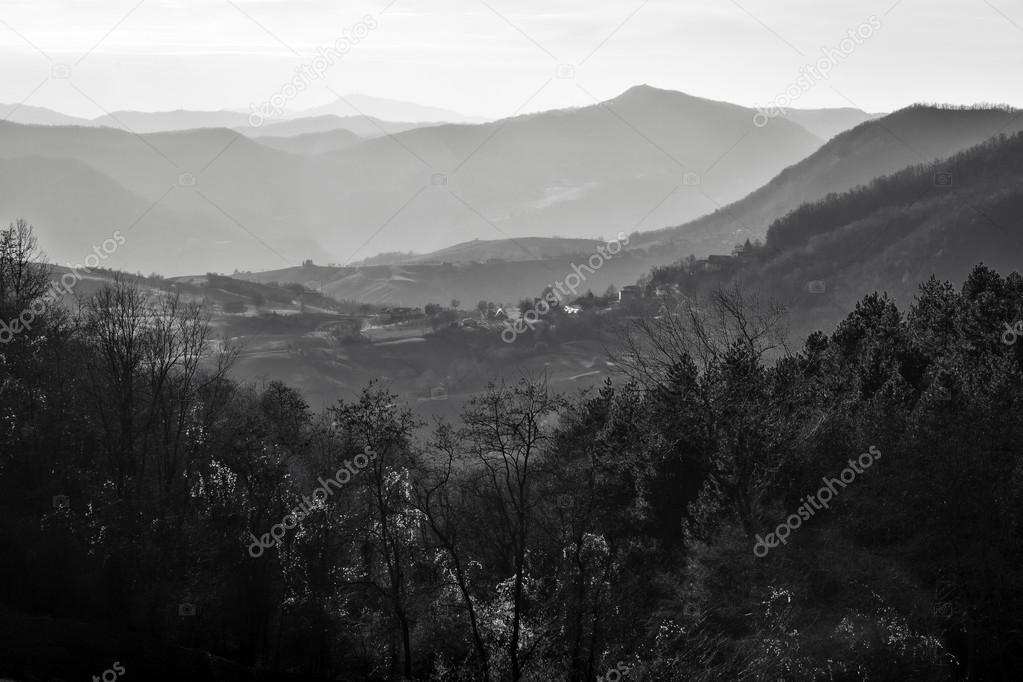 Oltrepo Pavese backlight panorama. Black and white photo