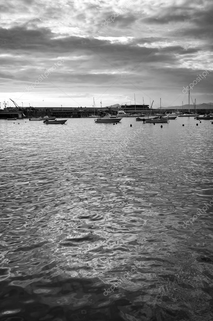 Ligurian sea coastline panorama. Black and white photo