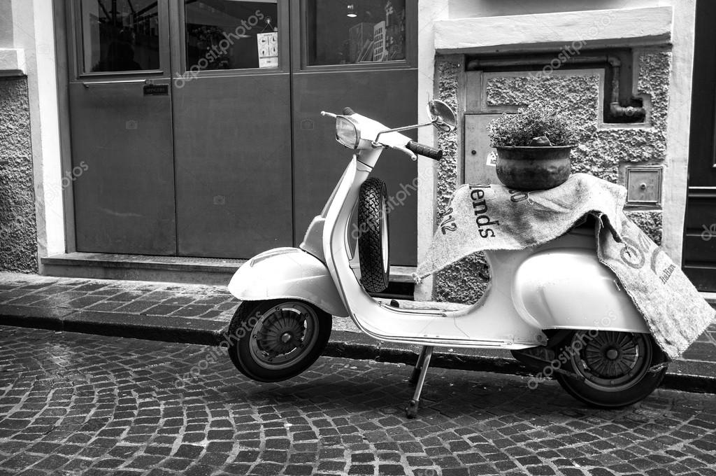 Old Vespa Motorcycle Black And White Photo Stock