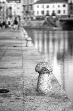 Navigli pier, Milan city. Black and white photo