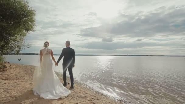 Ženich a nevěsta drží za ruce společně procházce na pláži pod stromem na pozadí moře