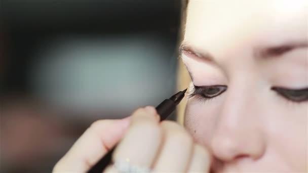 Eye make-up applying liquid eyeliner. Close-up