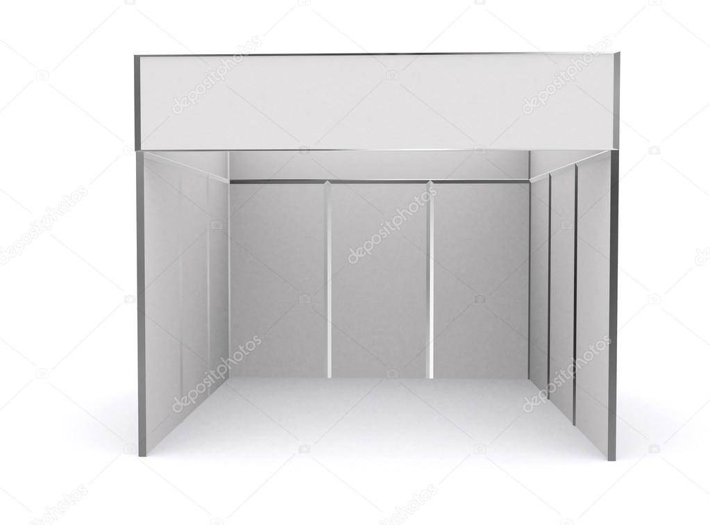 Exhibition Stand Template : Trade exhibition stand and blank roll banner d render isolated
