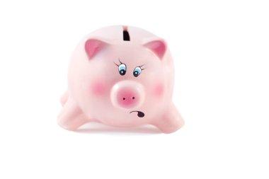 Charming Piggy Bank with Legs Apart Falls in Kizis on a White Ba