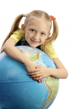 Little Smiling Girl Embracing the Globe
