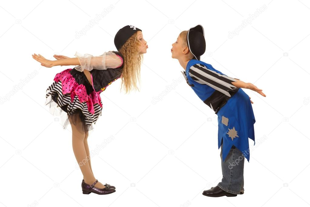 Children dressed as pirate . Child Costume Pirate One Little Girl One Little Boy Halloween Dress Childhood Isolated On White Horizontal Cheerful ...  sc 1 st  Depositphotos & Cute kids standing in costume for masquerade u2014 Stock Photo ...