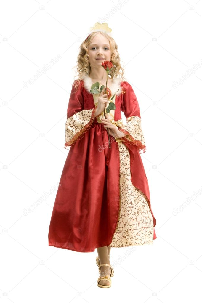 Beautiful little girl in princess costume standing with red rose u2014 Stock Photo  sc 1 st  Depositphotos & Beautiful little girl in princess costume standing with red rose ...