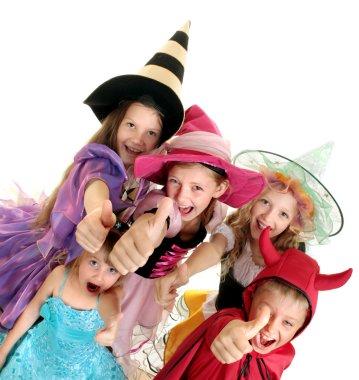 Halloween Children with Thumbs Up