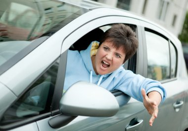 Angry Woman Driver Shouts
